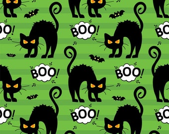 Halloween Fabric - Black Cat on Green - Boo - Angry Cat
