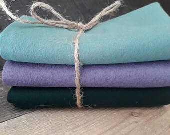 Wool Felt - Shades of Green and Purple - Bundle of 3 - Approximately 18 x 18 inch