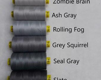 Thread - Gray - Shades of Gray - Tex 30 - Gutermann - 100% Polyester - 1,093 yards