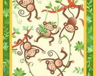 Monkey fabric - Baby Quilt Panel - Monkeys - Baby Quilt Panel and Kit options - Nursery Quilt