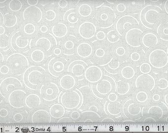 Gray on White - Tone on Tone - Circles - Circle fabric