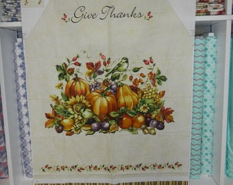 Thanksgiving Apron - Give Thanks - Cotton Fabric - Panel - Wall hanging - Banner