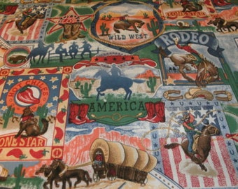 Western fabric - Cowboy fabric - Rodeo Scenic - Fabric by the yard