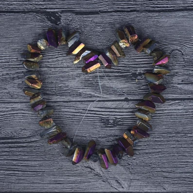 15.5inches Rainbow Titanium Quartz Top Drilled Thick Points Pendant.Druzy Crystal Rough Quartz Pandant Necklace Beads for Jewelry Making