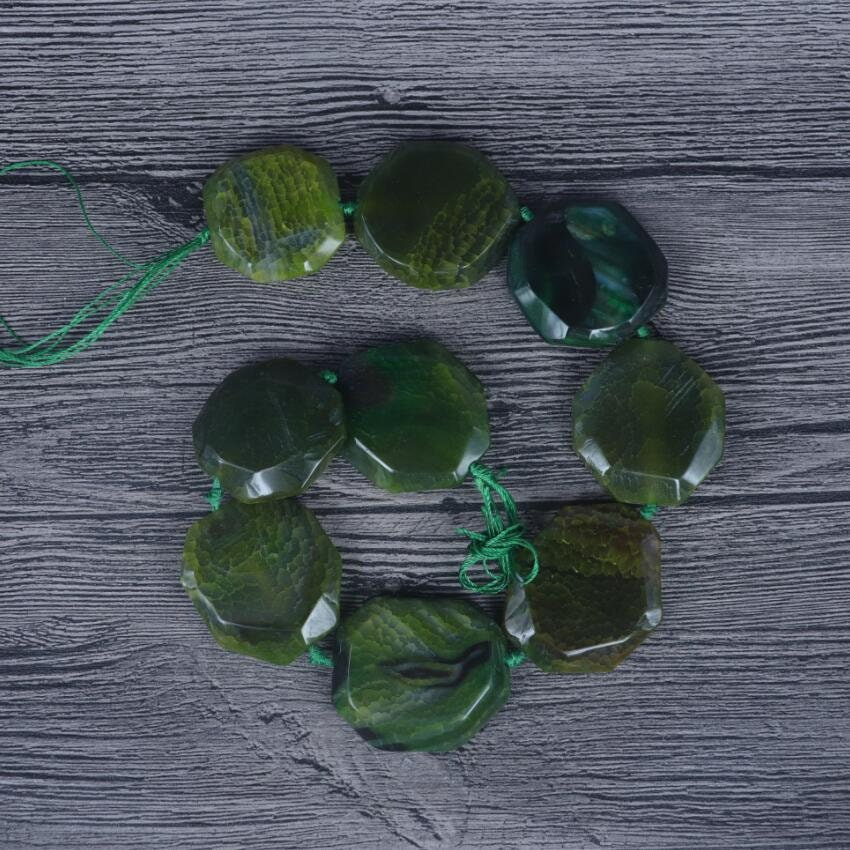 Natural Dragon Veins Agate Slab Loose Beads,Drilled Smooth Faceted Slice Beads Pendant Jewelry,DIY Bracelet Neckalce