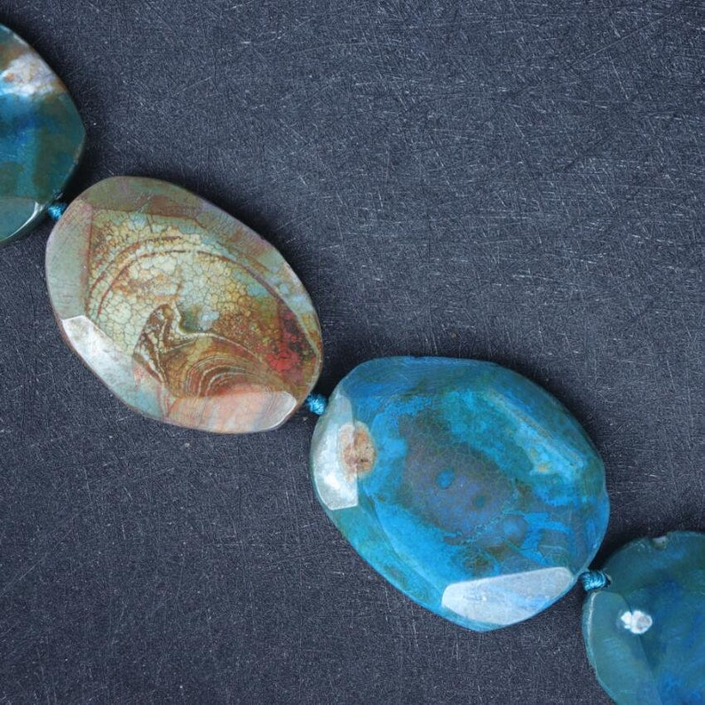 Polished Blue Druzy Agate Slice Slab Beads,Large Blue Dragon Vein Agate Slab Beads Pendants Necklaces
