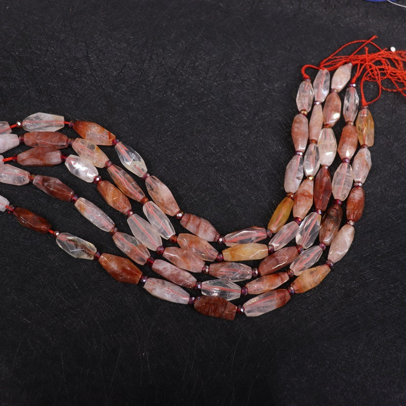 15.5inches Beautiful Red Quartz Nugget Beads,Natural Crystal Quartz Cut Slice Loose Bead Pendant Necklace Supplies