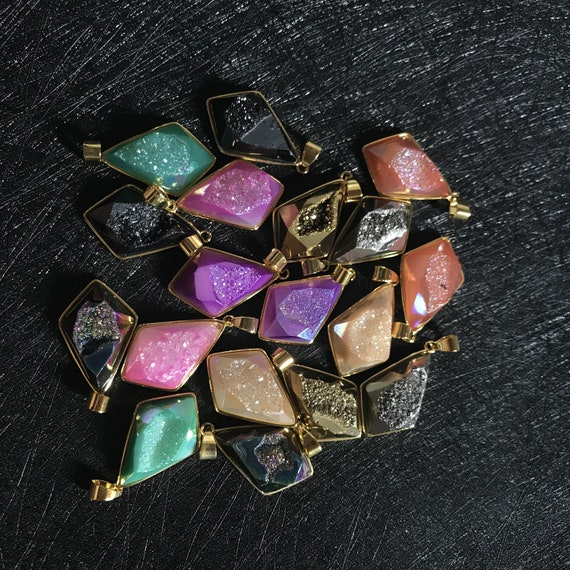 5 Pcs Titanium Coated Quartz Druzy Geode Agate Pendant Fit Necklace Wholesale