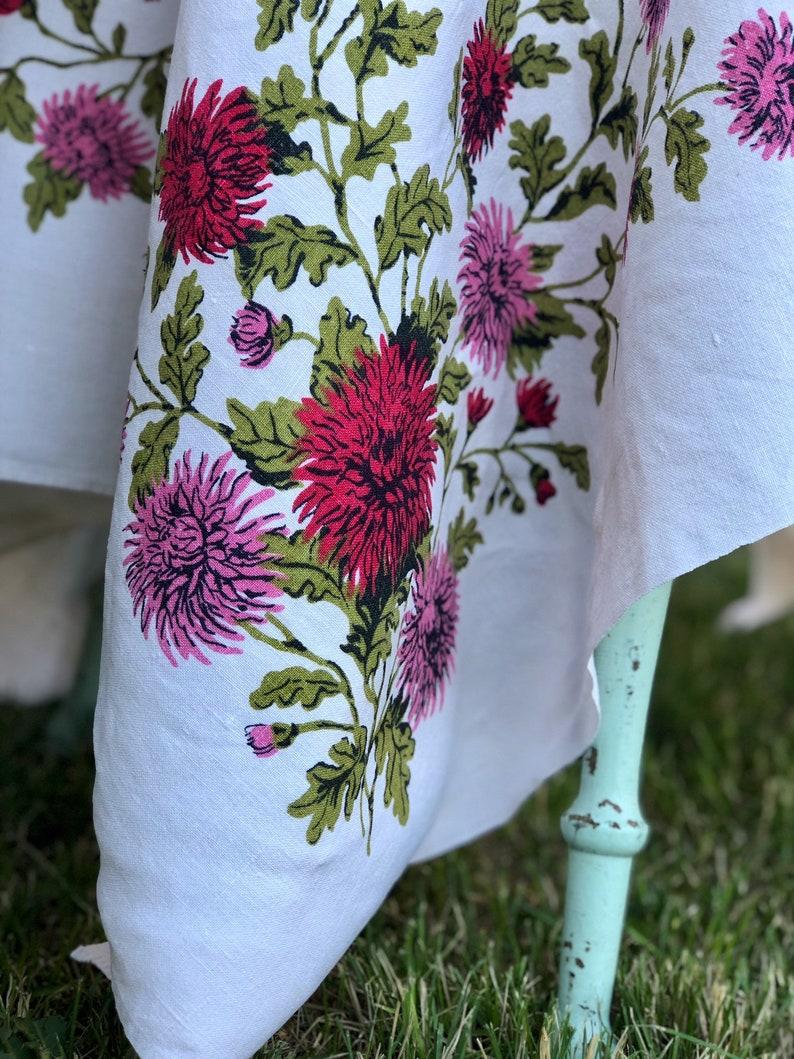 Vintage Pink Mums Tablecloth