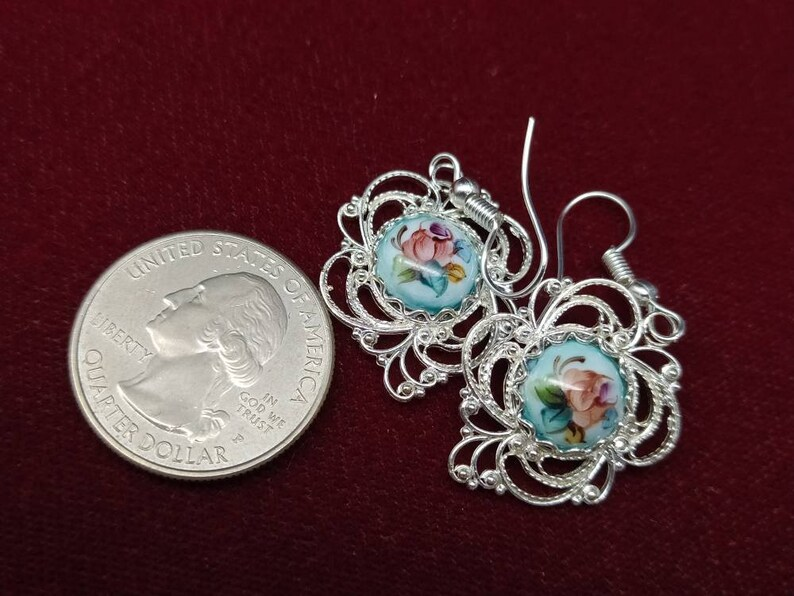 cabochon 10x10mm Openwork earrings in filigree way of Russian Rostov Finift Enamel floral pattern 20x20 mm 0.78*0.78 in 0.39*0.39 inches
