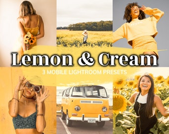 3 Lemon & Cream LIGHTROOM Mobile Presets, Presets, Yellow Preset, Warm Preset, Influencer Filter, Instagram Filter, Yellow Filter