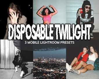 3 Disposable Twilight LIGHTROOM Mobile Presets, Presets, Retro Preset, Vintage Preset, Disposable Camera Filter, Instagram Filter