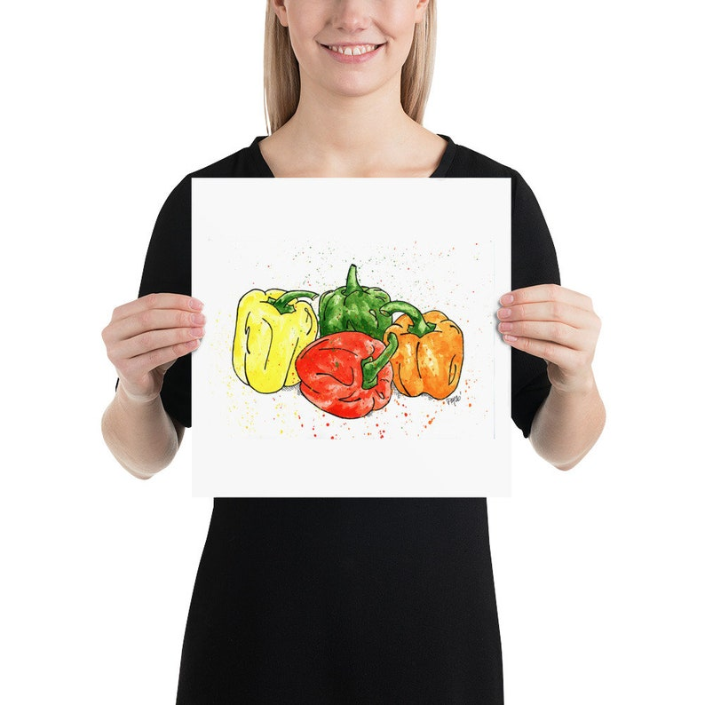 Vegetable Wall Art Garden Art Veggie Watercolor Print Kitchen Art Bell Pepper Watercolor Print Colorful Bell Pepper Watercolor Painting