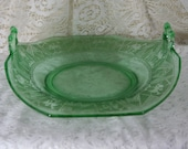 Vintage Fenton Green Glass Bowl Dish Plate with Turned Up Handles, Oriental Eastern Japan Japanese Design, 10.5 quot