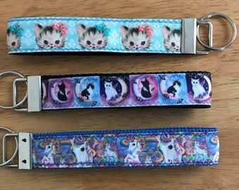 Rainbow Unicorn Kitten Rhinestone Wristlet