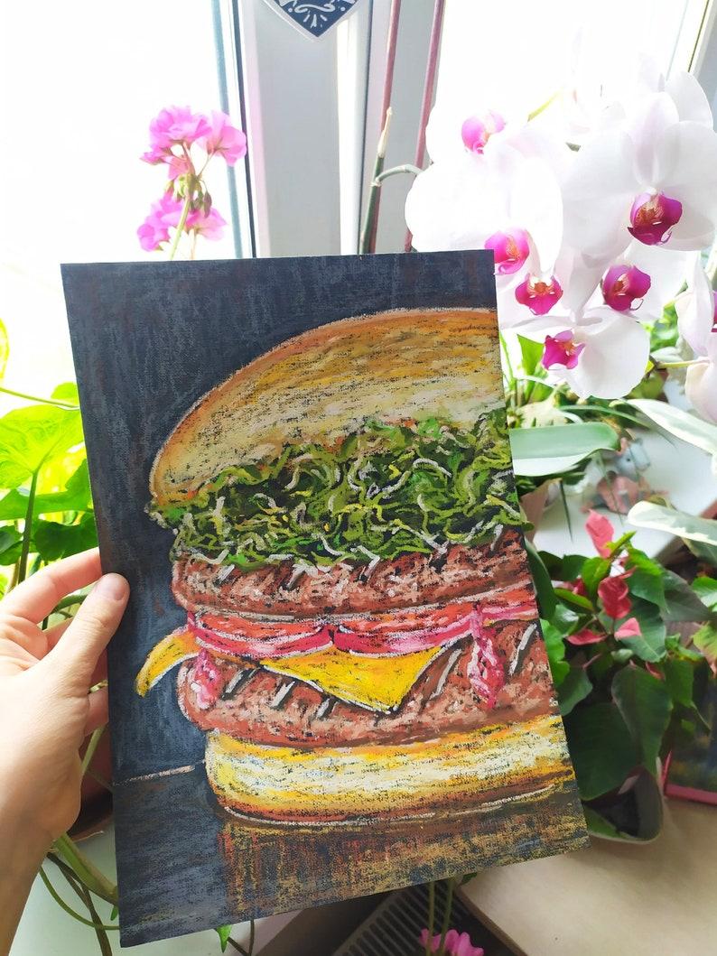Food Painting Burger Original Art Still Life Wall Art 15 by8 Inches byArt Gurman