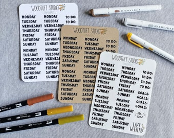 Bold Weekday Stickers for Bullet Journal or Planner
