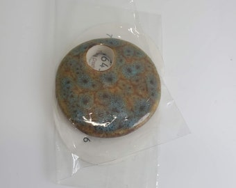 Lovely Ceramic Brown with Blue Accent Pendant #225