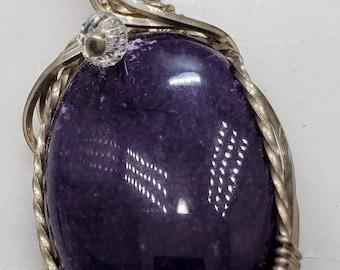 Rich Dark Purple Agate Gemstone, Wire Wrapped in .925 Sterling Silver #175