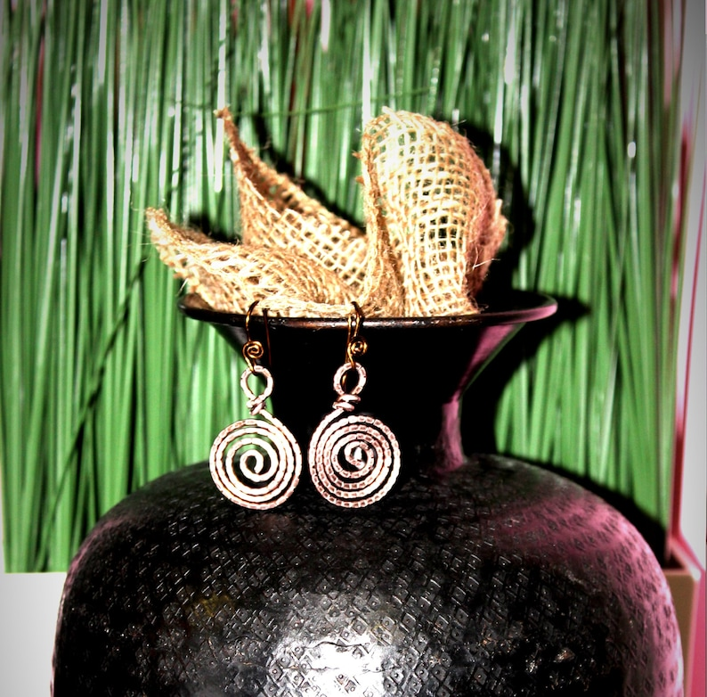 Egyptian Style Earrings Made With Pure Aluminum Wire And Nickel Free  Jewelry Hypoallergenic Earrings Boho Spiral Earrings Copper Led