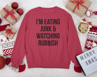Unisex Funny Christmas Sweatshirt, T-Shirt, or Hoodie, Home Alone Movie Quote Eating Junk & Watching Rubbish Holiday Party Graphic Crewneck