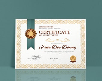 Certificate template | Etsy