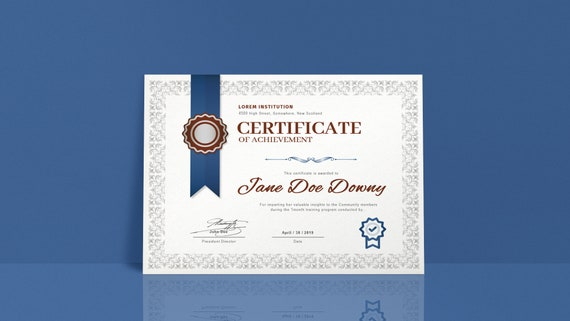 graphic regarding Certificate of Achievement Printable identified as Certification of Accomplishment Award Template Straightforward Layout Printable Editable Microsoft Phrase Immediate Down load Grey and Blue