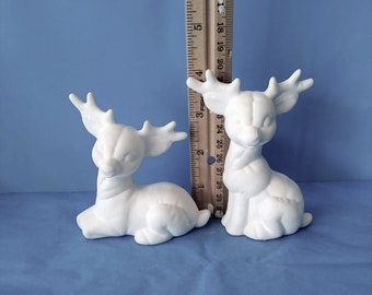 Ceramic Stitched Reindeer Figurine Statue Doll Sitting Cartoon Like Ready to Paint Bisque