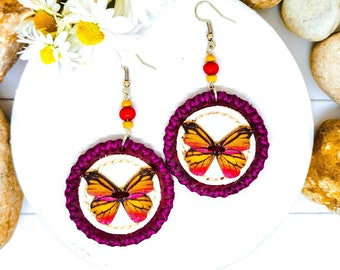 Burgundy Round Leather Earrings With Wooden Butterfly, Dangle Stylish Handmade Jewelry For Women, Modern Everyday Earrings For Her, Her Gift