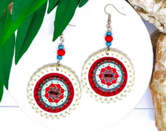 White Red Round Leather Earrings With Wooden Button For Women, Dangle Stylish Everyday Earrings For Her, Colorful Handmade Jewelry For Ladie