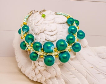 Green Kumihimo Glass Beads Bracelet For Women's,Original Handmade Braided Multicolored Jewelry For Her,Unique Everyday Gift Ideas For Ladies