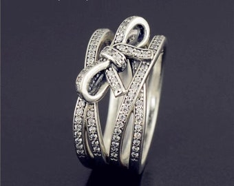 e1317f53a Delicate Sentiments Ring, 925 Sterling silver & Clear CZ Ring, Pandora  compatible