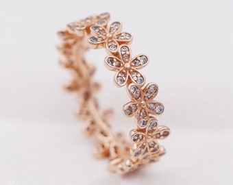 920ed385a Dazzling Daisy Ring, 925 Sterling silver & Rose Gold Plated with CZ, Pandora  compatible