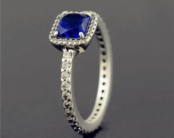 2704de9eb Timeless Elegance Ring, 925 Sterling silver & Blue Crystal, CZ, Pandora  compatible