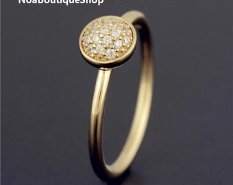 713afc3c6 Dazzling Droplet Ring , 14K Solid Yellow Gold 585 with CZ, Pandora  compatible