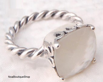 eabdbe6e8 Elegant Sincerity Twist Ring, 925 Sterling silver & Mother of Pearl Ring, Pandora  compatible