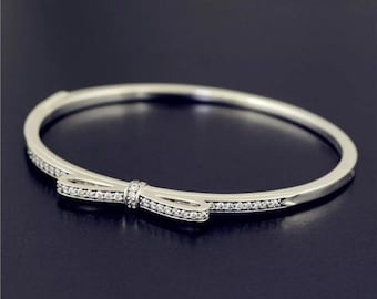 9b6192cde Sparkling Bow Bangle Bracelet, 925 Sterling silver & Clear CZ Ring, Pandora  compatible
