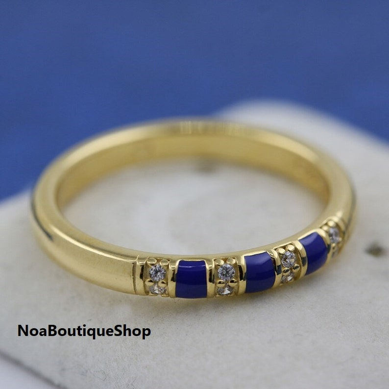 600dedc809b01 Exotic Stones & Stripes Ring, 925 Sterling silver With 18K Gold Plated  Shine™ With Blue Enamel, CZ, Pandora Inspired