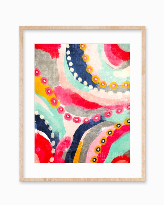 Colorful Modern Abstract Art Printable Wall Art Brush Strokes Etsy
