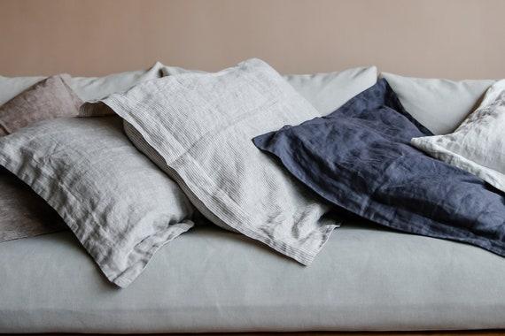 Natura Linen pillow cover euro sham body pillow size standard Pure 100/% linen bedding. King Gray stripes Linen pillowcase Queen