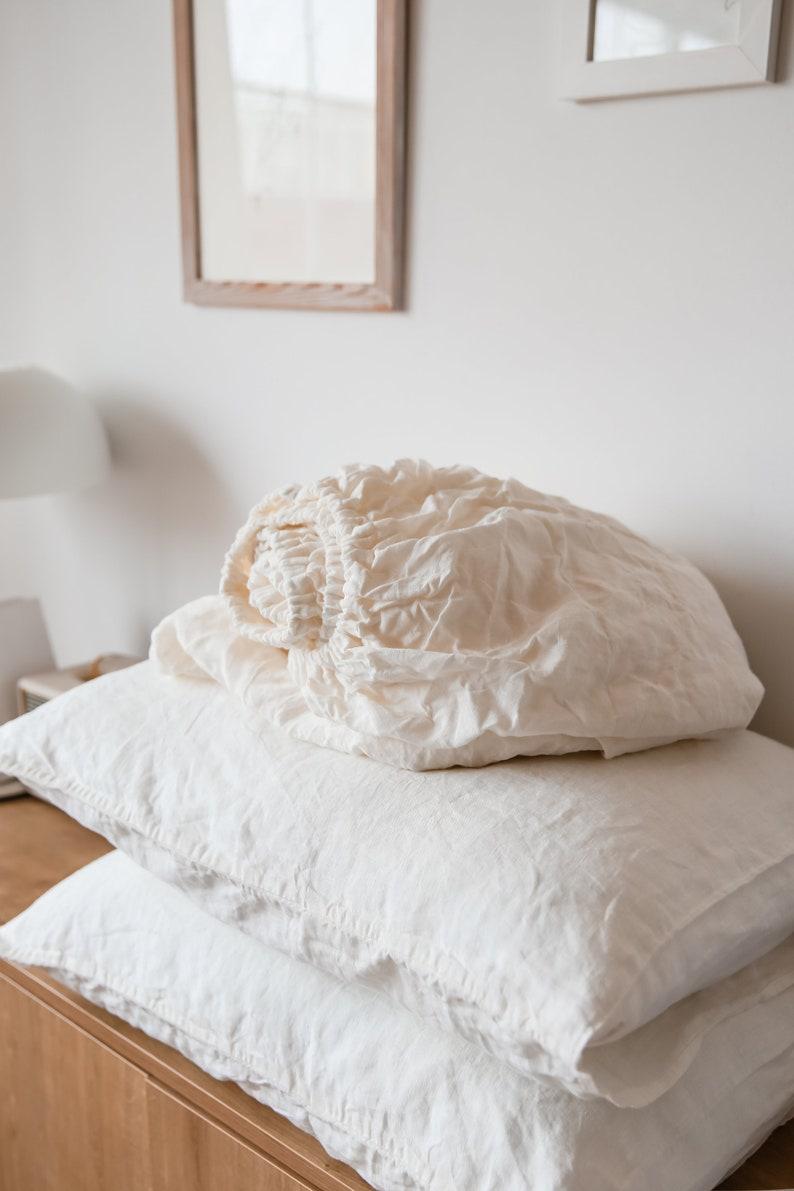 Organic linen bedding set Natural Bedding Twin CalKing Queen King Set flat sheet 2 pillow cases Fitted sheet LINEN SHEETS SET in Ivory