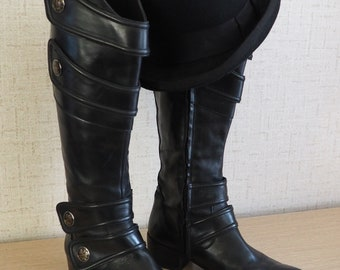 49305afd8d4 Vero Cuoio Size 40 Black Leather knee-high Boots Made in Italy of quality  leather Rare Find