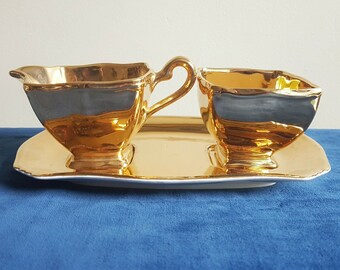 Vintage Royal Winton Golden Age Two Tier Handled Tray Art Deco Design Gold Lustre With Leaf Imprint Holiday or Golden Anniversary Piece