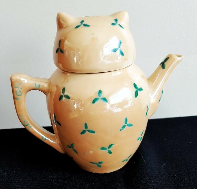 Vintage Small Owl Teapot Pier 1 Imports Lusterware Lustreware China Pottery