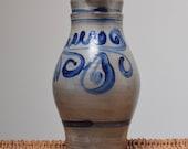 Old Jug Old Salt Sandstone Pitcher Cobalt Blue Betschdorf Alsace Folk Art 3L 1930 Very Beautiful State.
