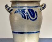 Old Salt-Tinted Enamelled Sandstone Jar - Cobalt Blue - Betschdorf - Alsace - Folk Art - Perfect condition - 1900.