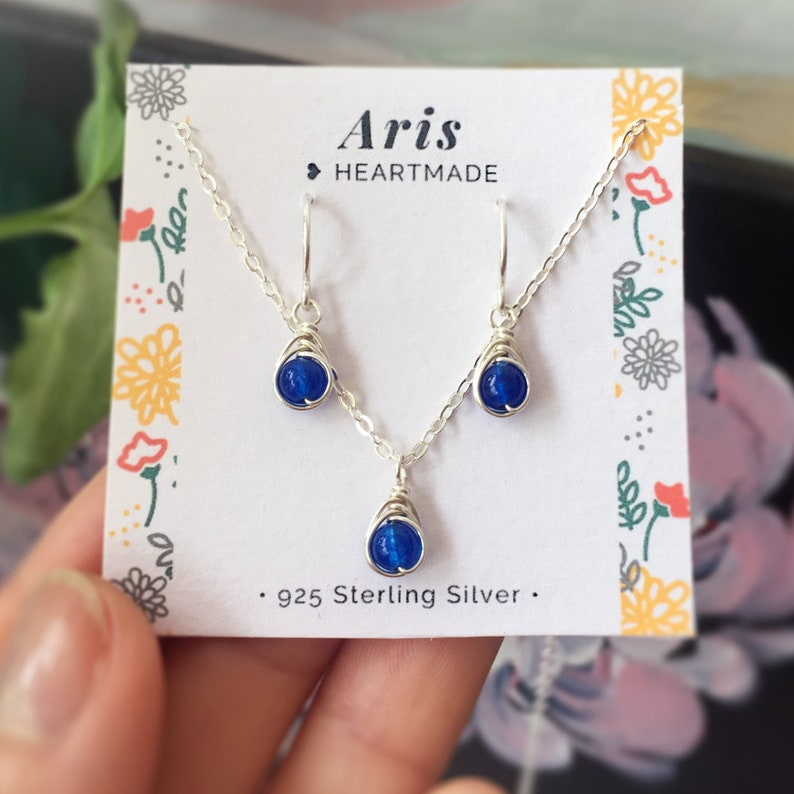 14K Gold Rose Gold Filled Sterling Silver Sapphire Jewelry Set September Birthstone Gift Earrings and Necklace Set