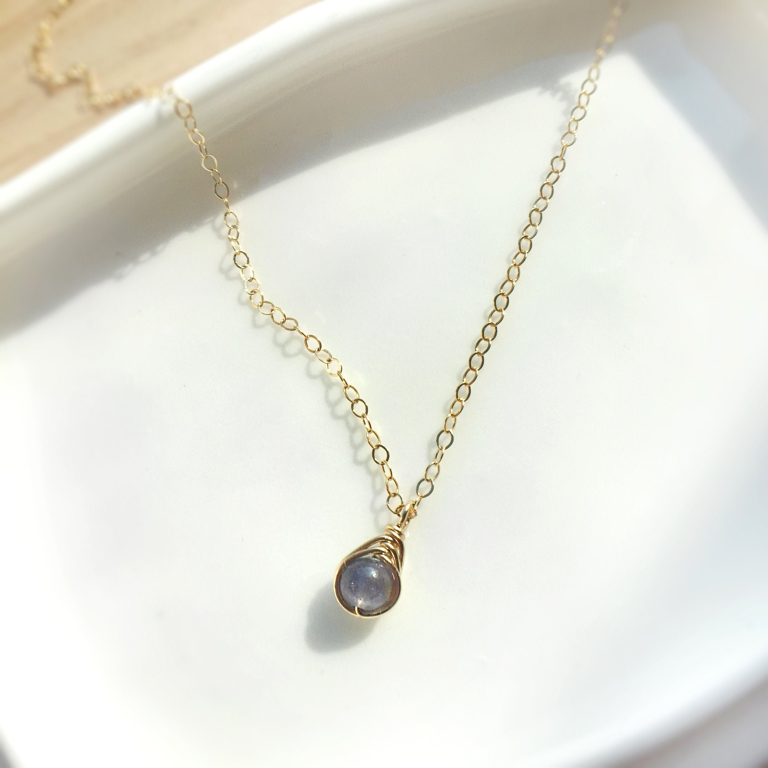 Delicate Ruby And Tanzanite 14K Gold Filled Necklace ; Boho Gold Filled Pendant Necklace;Elegant Woman Necklace;July Birthstone