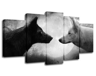 49509fbcb26 5 Panels Wolf Painting Picture Canvas Poster Print Wall Art Home Décor  Artwork Split Canvases Birthday Gift