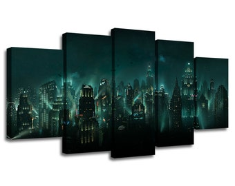 6cc8585065cd 5 Panels BioShock Painting Picture Canvas Poster Print Wall Art Home Décor  Artwork Split Canvases Birthday Gift